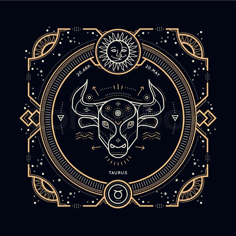 Vintage Thin Line Taurus Zodiac Sign Label Retro Vector