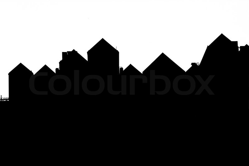 silhouette of a roof of a house on a white background stock photo