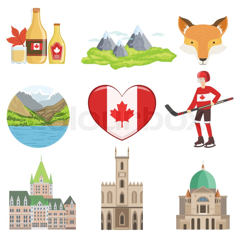 Canadian Culture Symbols Set Of Items Isolated Objects Representing