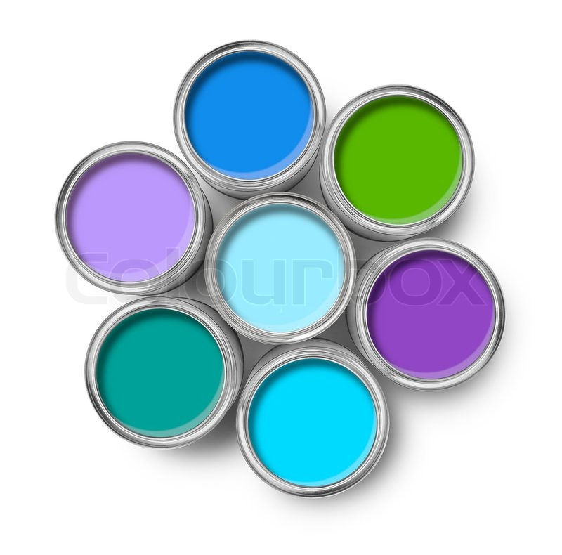 cool colors paint tin cans opened top view isolated on