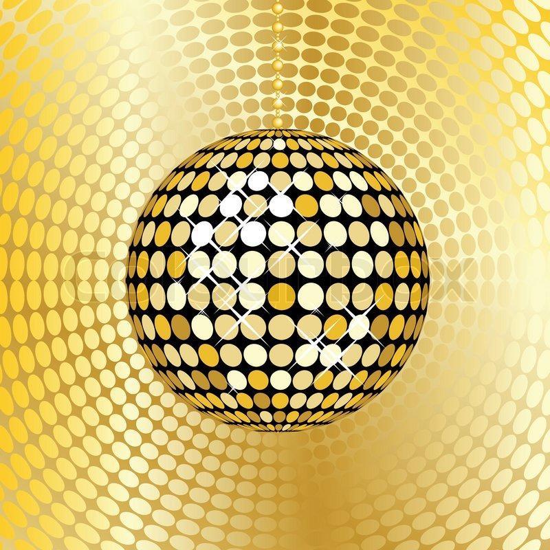 Abstract gold Discokugel auf einem roten Mosaik ...