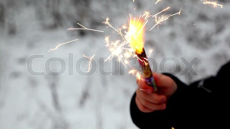 Firework Fire In Children S Hand In Snow Forest Stock