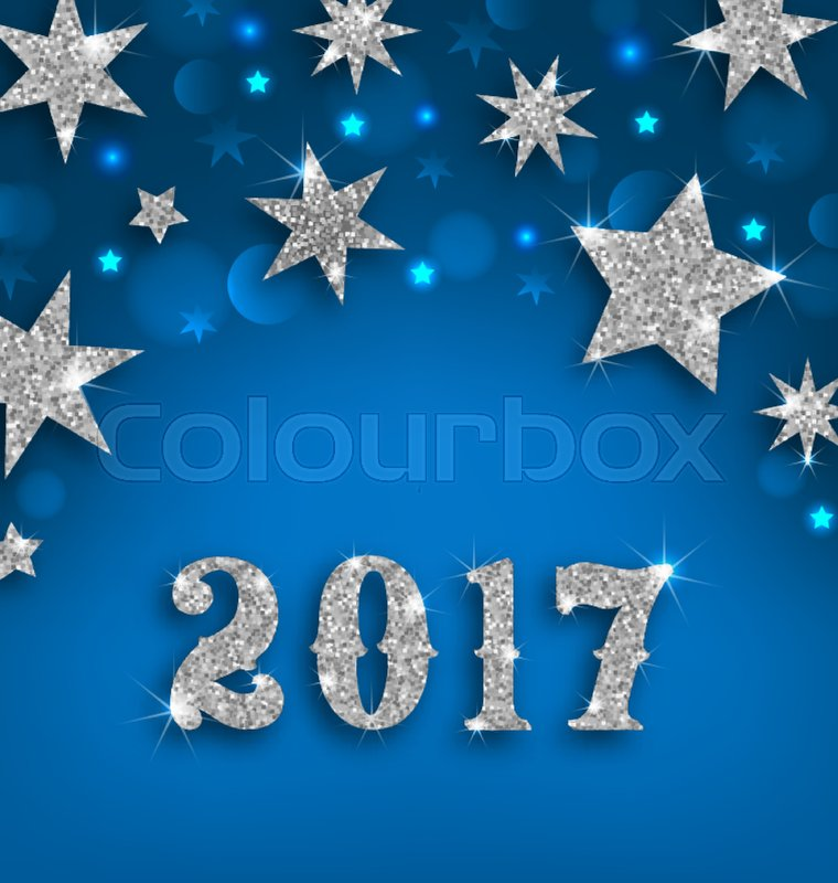 illustration starry silver background for happy new year 2017 glittering luxury wallpaper vector stock vector colourbox