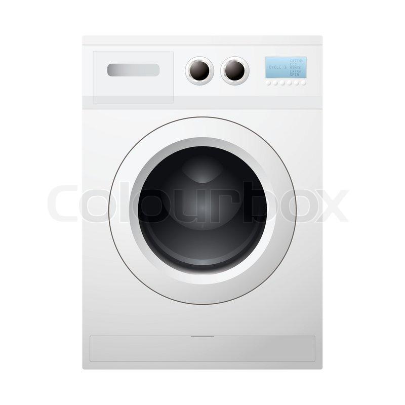 illustrated wei e waschmaschine konzept mit leeren trommel vektorgrafik colourbox. Black Bedroom Furniture Sets. Home Design Ideas