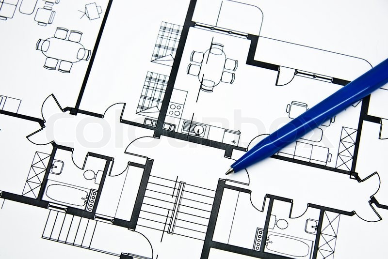 Plan of apartment with a pencil close up stock photo for Apartment stock plans