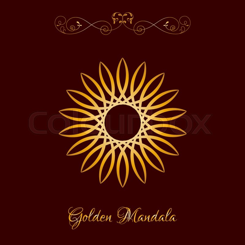 Vector Gold Color Sun Flower Mandala Stock Vector Colourbox