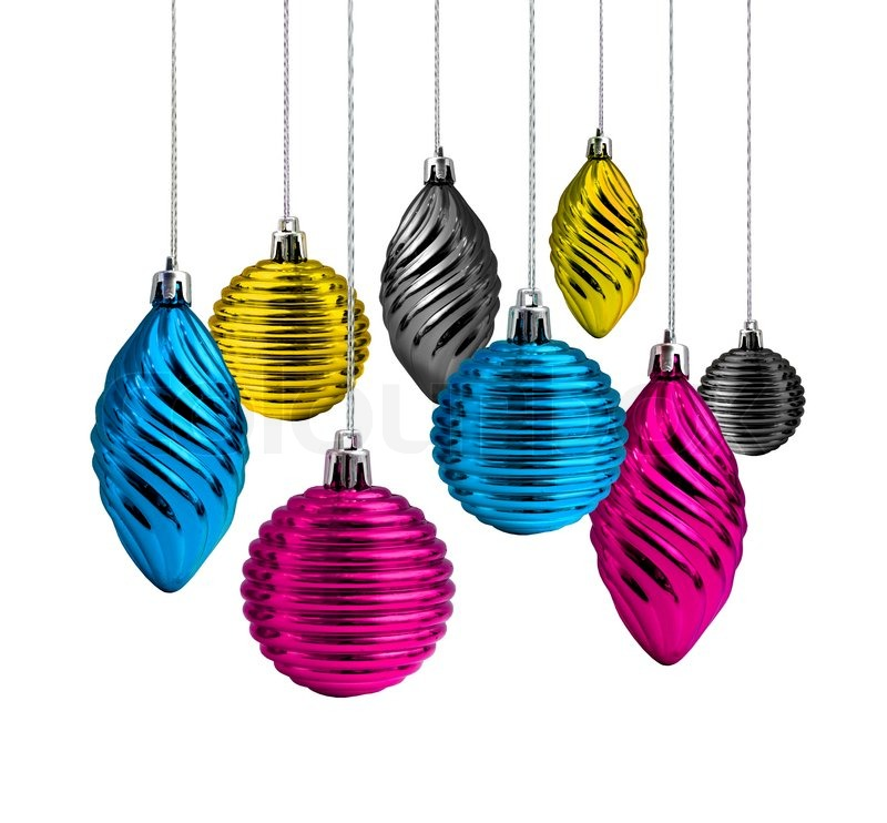 Cmyk Colour Christmas Decoration Balls And Cones Stock Photo
