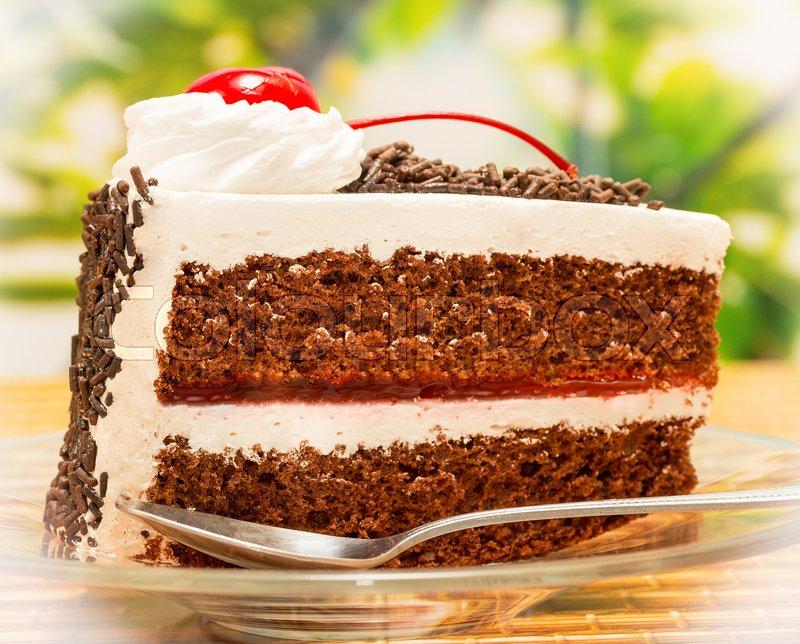 Black Forest Gateau Indicates Chocolate Cake And Appetizing, stock photo