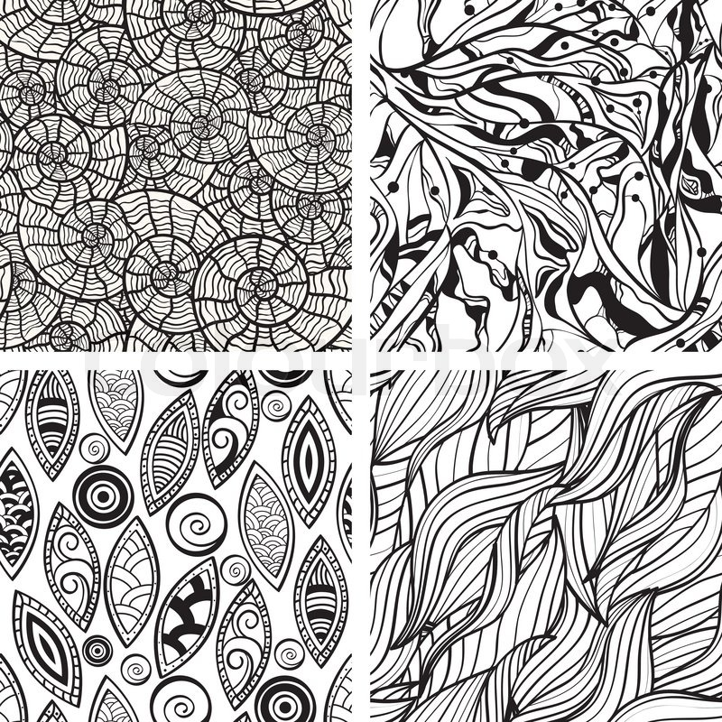 Line Drawing In Computer Graphics : Vector seamless abstract hand drawn monochrome patterns