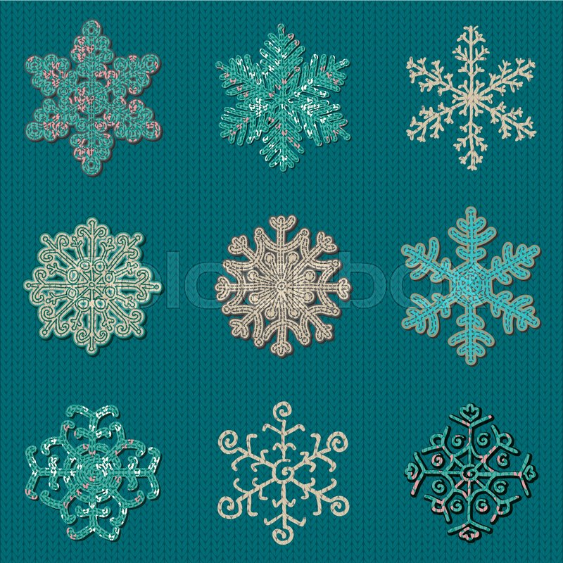 Set Of Nine Cute Sewn Knitted Snowflakes On Knitted Background