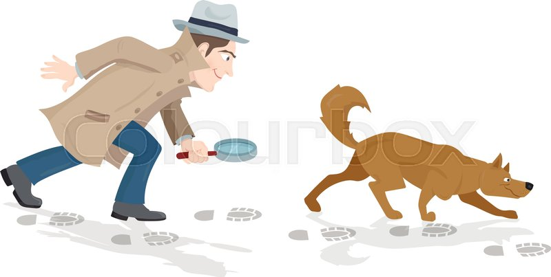 detective dog cartoon