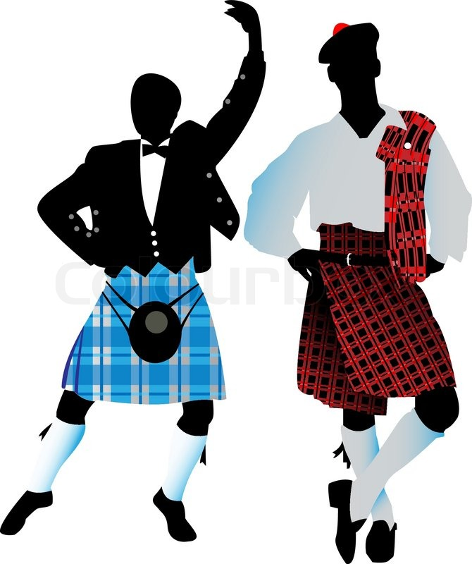 Silhouettes of the Scots   Stock Vector