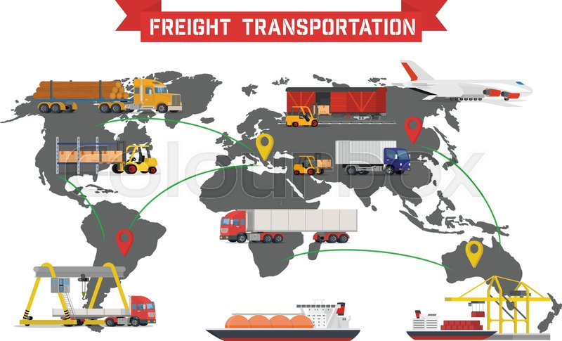 Vector infographic of worldwide shipping heavy transport delivery stock vector of vector infographic of worldwide shipping heavy transport delivery ways and gumiabroncs Images