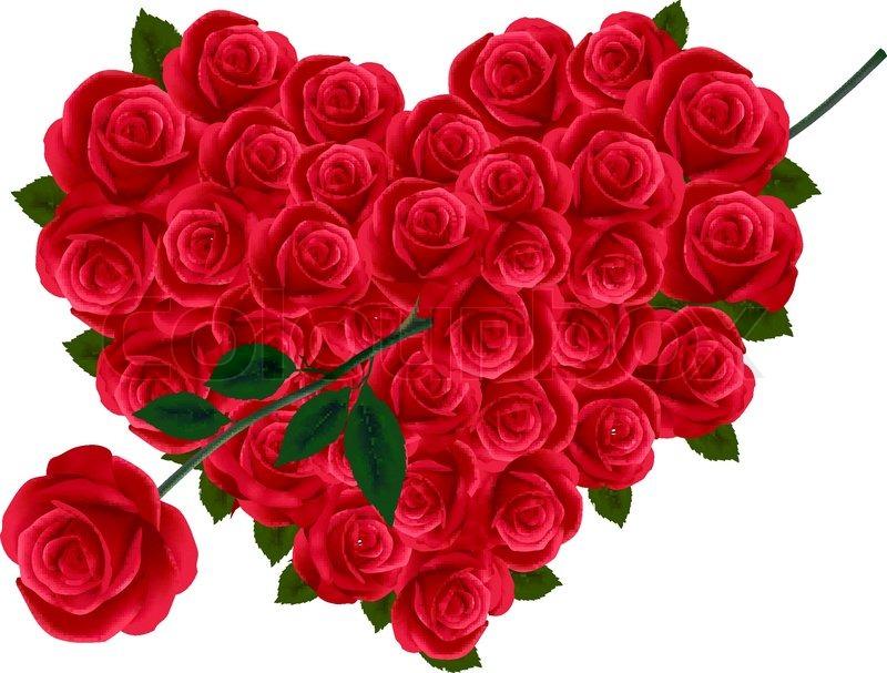 Jahrestag Oder Valentinstag Herz Aus Rosen Mit Pfeil Gemacht.    Vektorgrafik   Colourbox