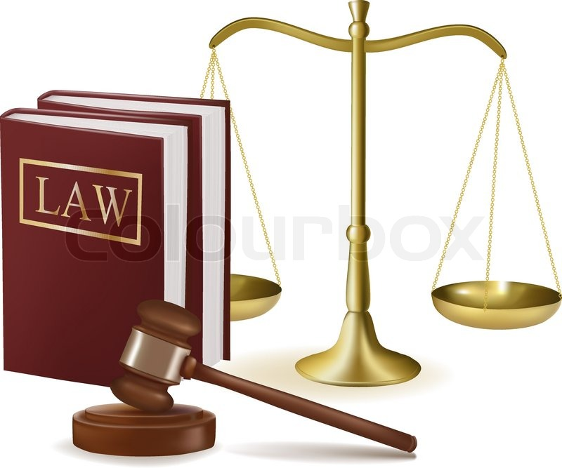 judge gavel with law books and scales. vector illustration. | stock