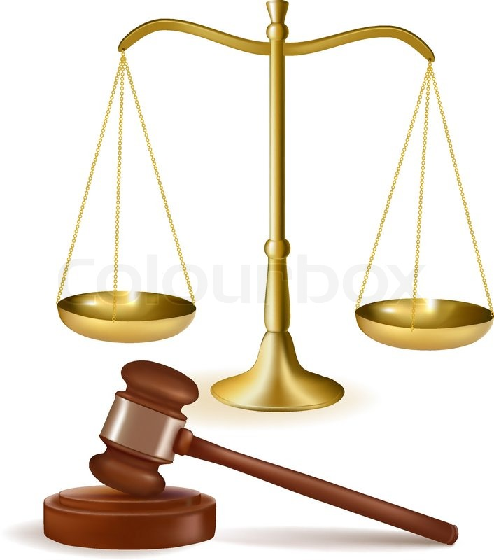 Judge gavel with scales. Vector illustration. | Stock ...