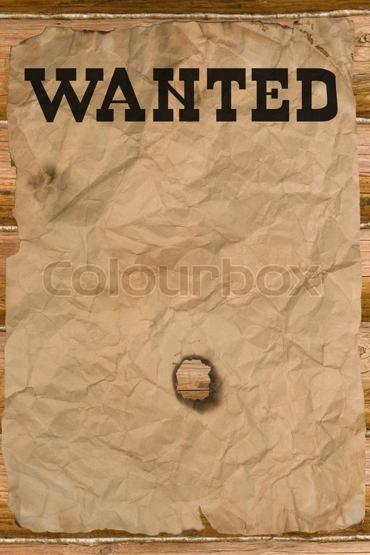 Wanted Poster With A Hole (vintage Wild West Style) | Stock Photo |  Colourbox  Most Wanted Sign Template