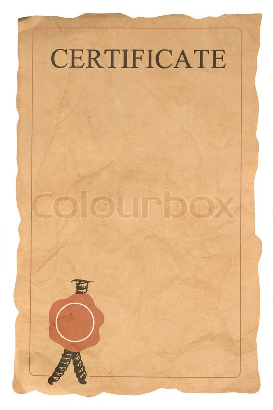 Old blank certificate form (isolated on white) | Stock Photo | Colourbox