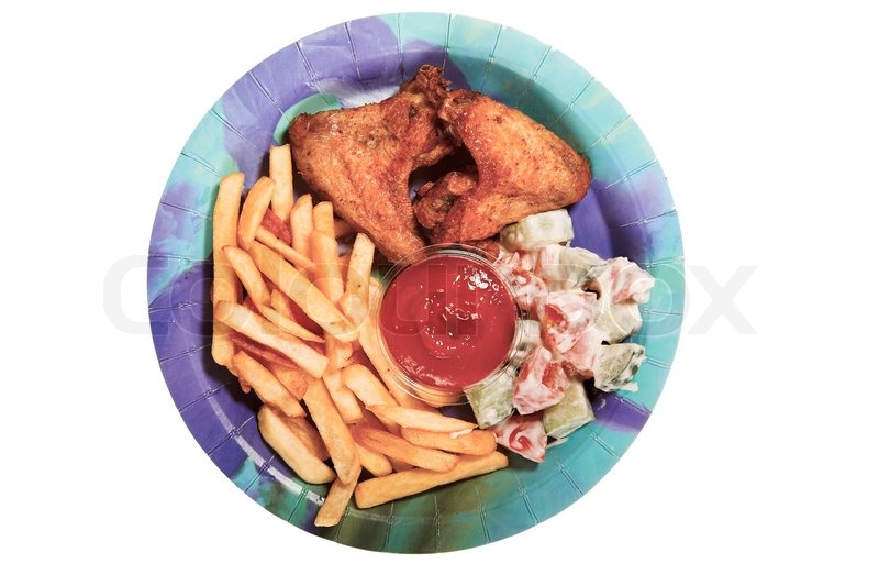 Unhealthy Food Plate Fast food on plate iso...