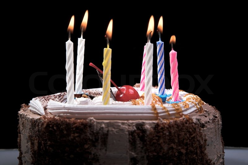 Image Of Birthday Cake With One Candle : Birthday cake with candle isolated on black Stock Photo ...