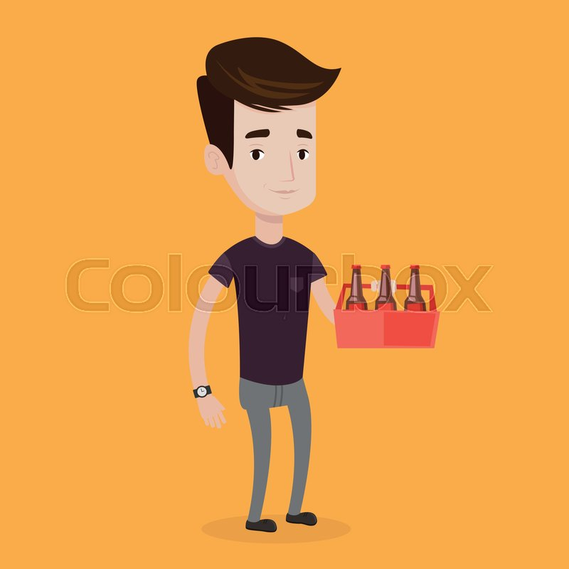 Young Happy Man Holding Pack Of Beer Stock Vector Colourbox