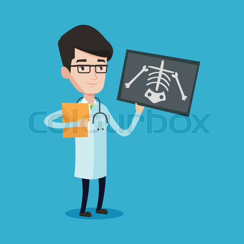 Doctor examining a radiograph. Young smiling doctor looking at a chest radiograph. Doctor observing a skeleton radiograph. Vector flat design illustration isolated on blue background. Square layout, vector