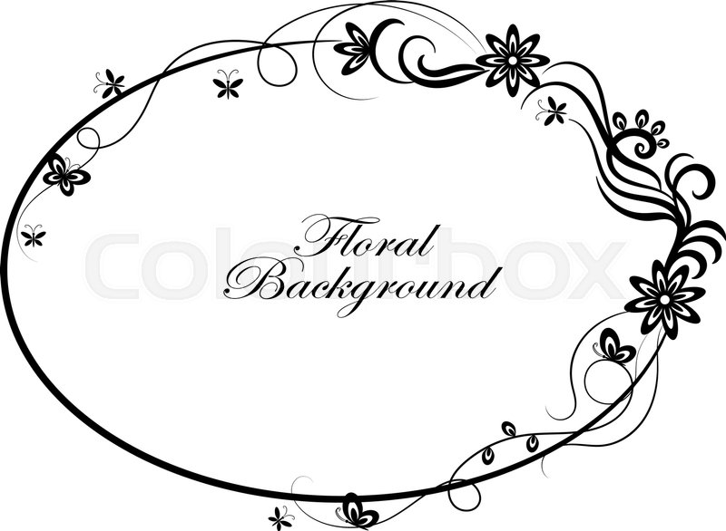 Oval Simple Ornamental Frame In Black And White Style
