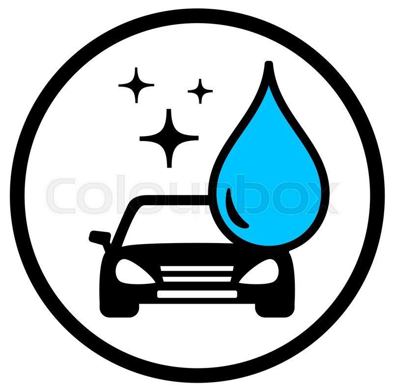 Round Car Wash Symbol With Car And Blue Drop Stock Vector Colourbox