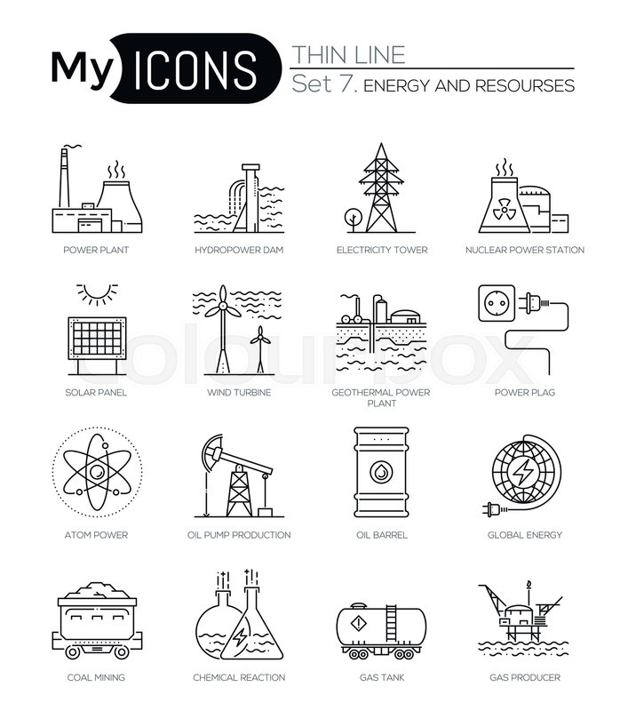Modern Thin Line Icons Set Of Energy Produsing Industry