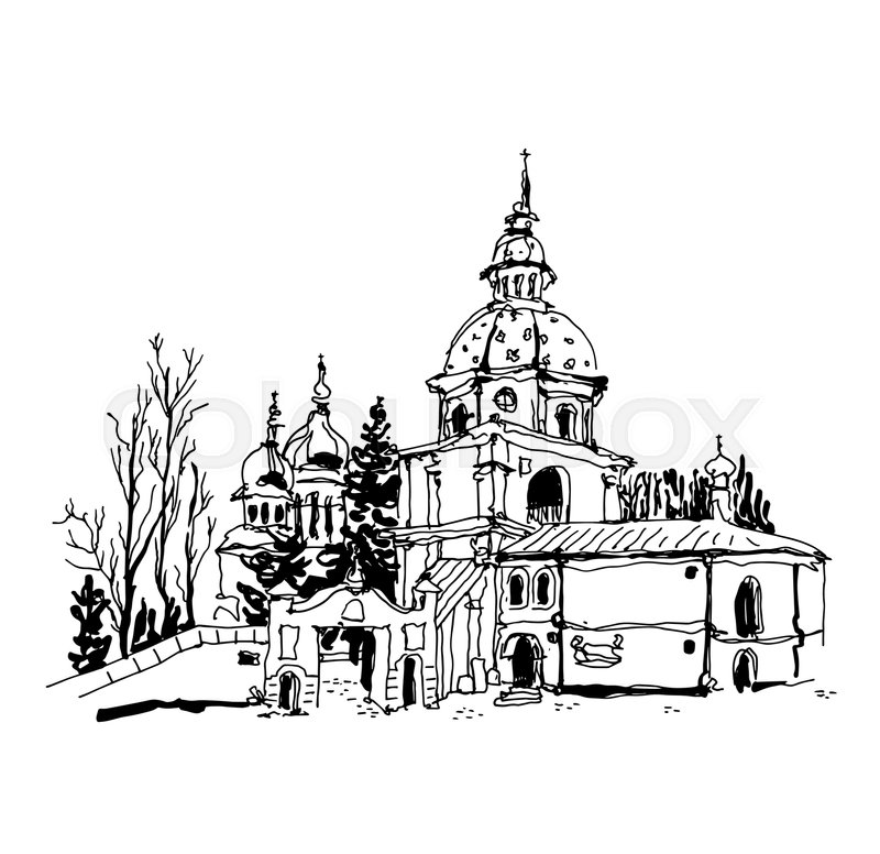 Old Building Sketch Royalty Free Stock Photos