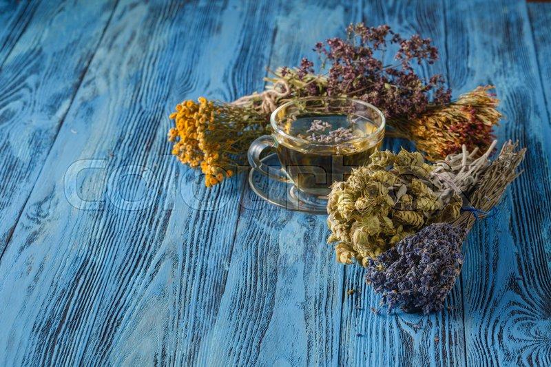 Herbal tea. Herbs and flowers, herbal medicine, stock photo