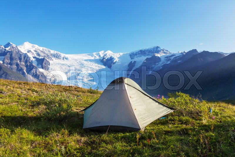 Hicker\'s tent in the mountains, stock photo