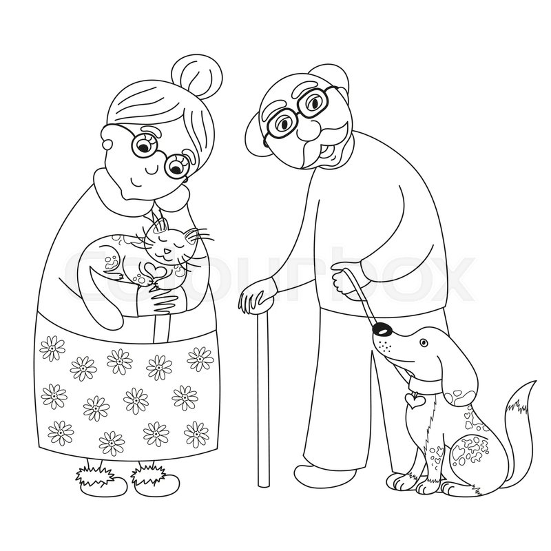 Cute Darling Grandmother And Grandfather Granny With Cat Old Man Dog On Leash Vector Illustration Coloring Book Page For Children