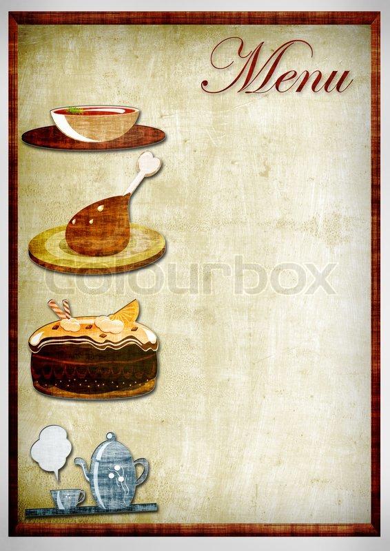 Blank Restaurant Menu Design Stock image of 'menu in grungy