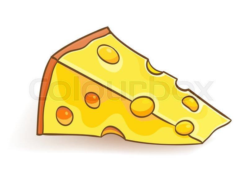 Cartoon Cheese Slice On White. Vector ...
