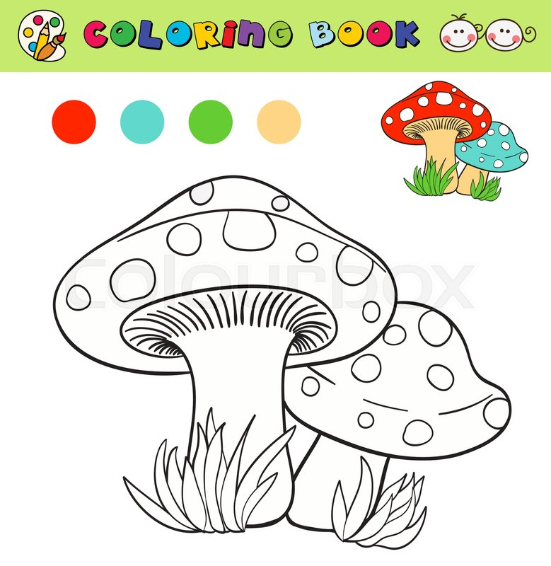 Coloring book page template with mushrooms in grass, color samples ...