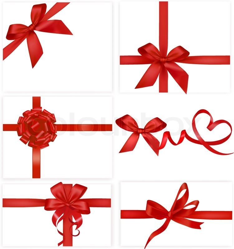 Big set of red gift bows with ribbons vector stock vector big set of red gift bows with ribbons vector vector negle Image collections