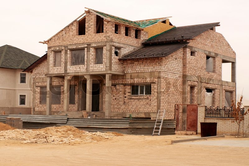 Construction Of New Houses Of Brick Limestone Stock
