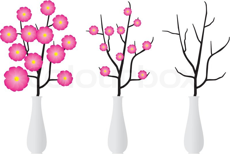 Dry Branch Of Tree Or With Flowers In Elegant White Vase Cartoon