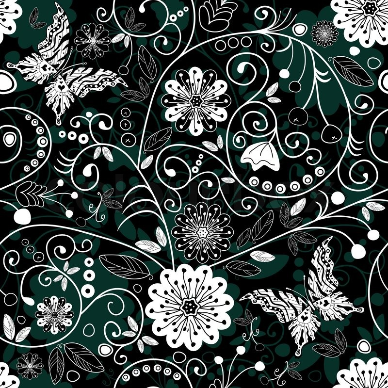 Green and white floral pattern - photo#24