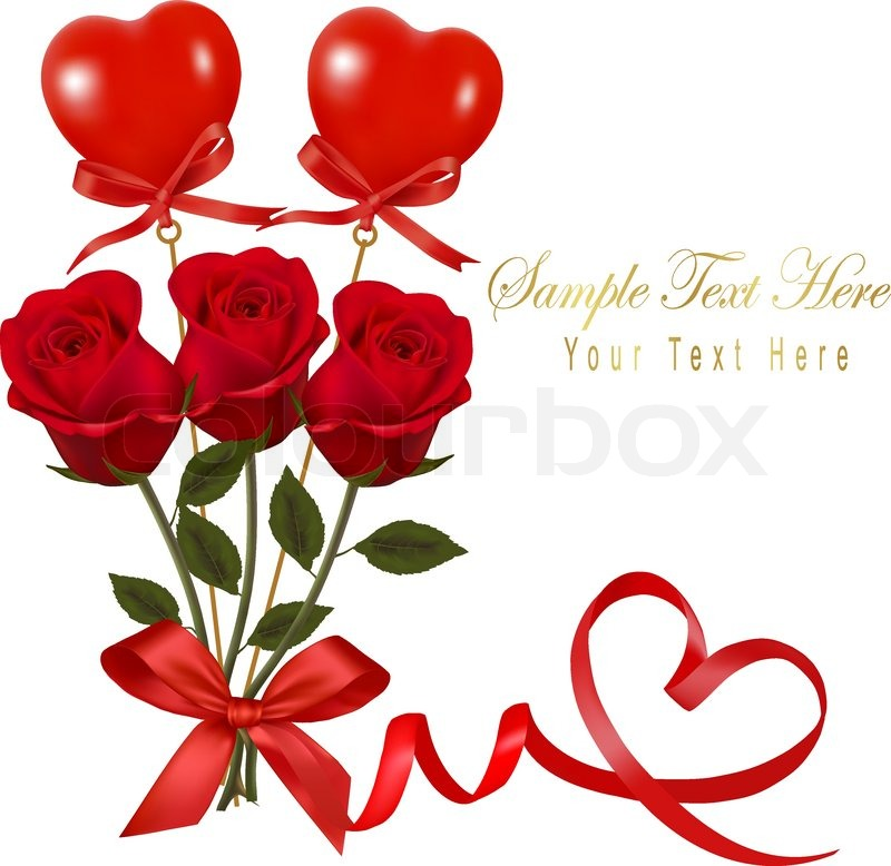 Roses Valentine S Day With Stuff Toys : Valentine`s day card beauty red rose and gift box with