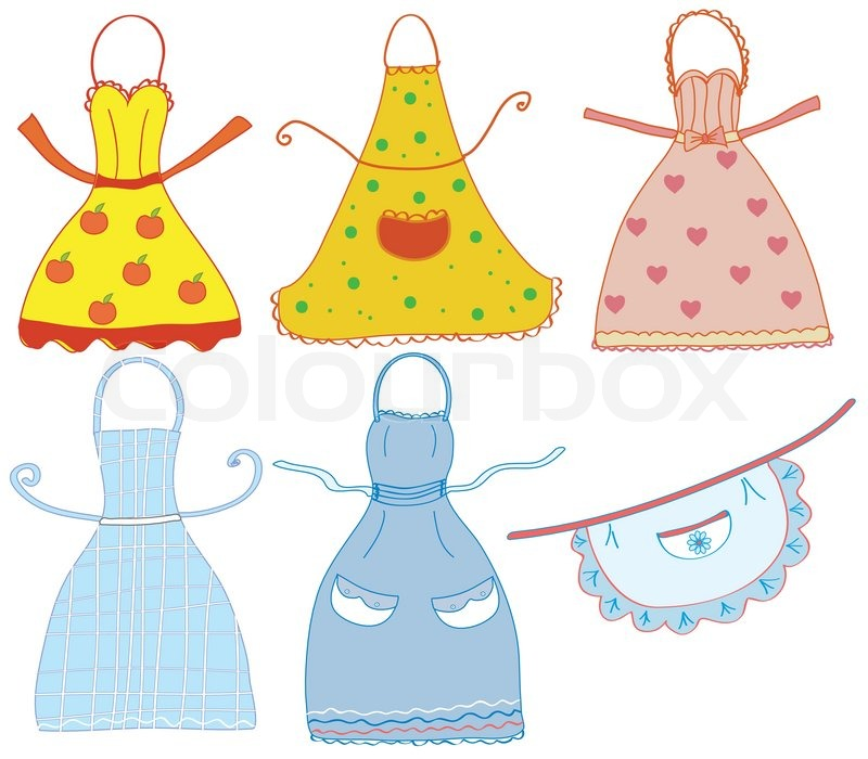 Funny Bright Aprons Set With Differrent Patterns Stock