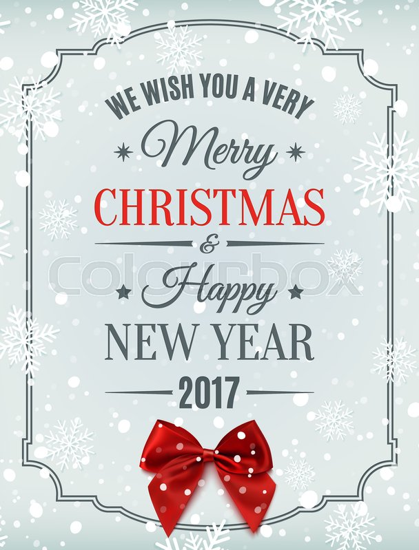 Merry christmas and happy new year 2017 typographic text on winter merry christmas and happy new year 2017 typographic text on winter background with red bow snow and snowflakes greeting card template m4hsunfo Gallery