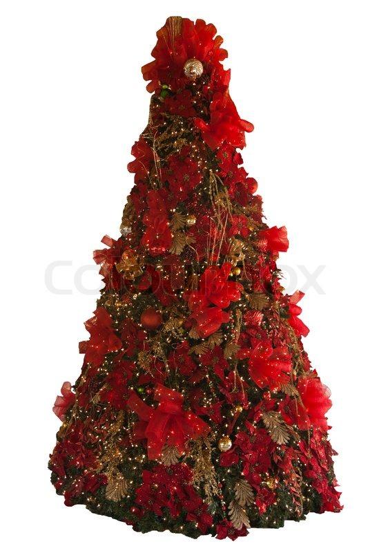 hohe weihnachtsbaum geschm ckt rot und gold isoliert stockfoto colourbox. Black Bedroom Furniture Sets. Home Design Ideas