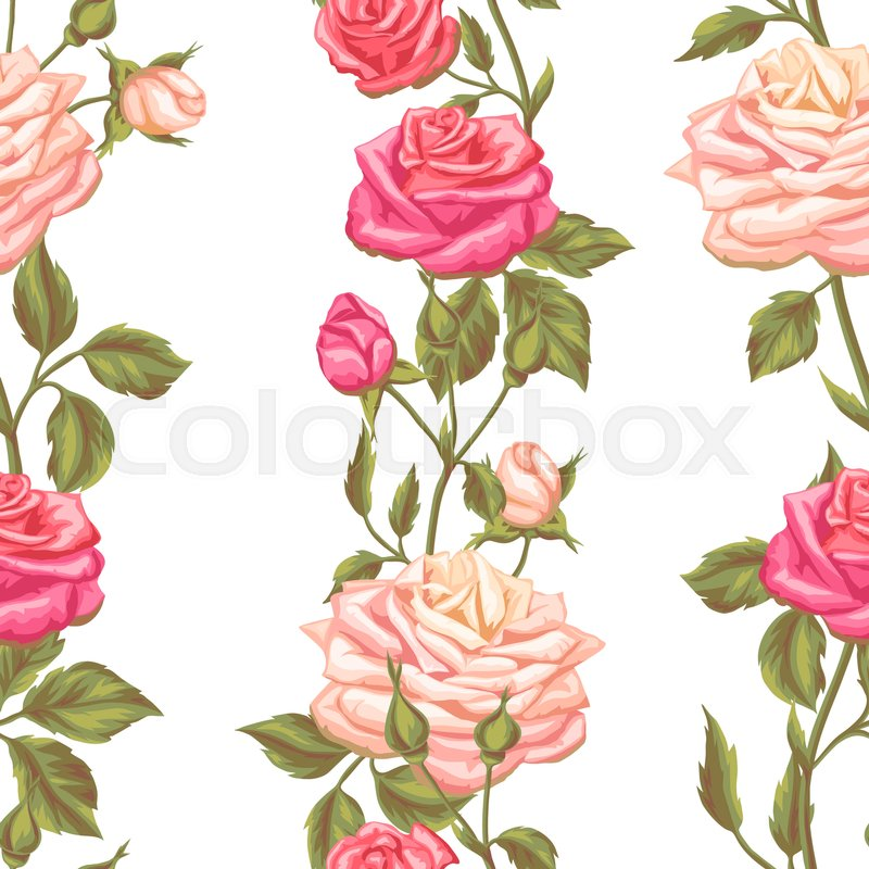 Seamless pattern with vintage roses decorative retro flowers easy seamless pattern with vintage roses decorative retro flowers easy to use for backdrop textile wrapping paper wallpaper vector mightylinksfo