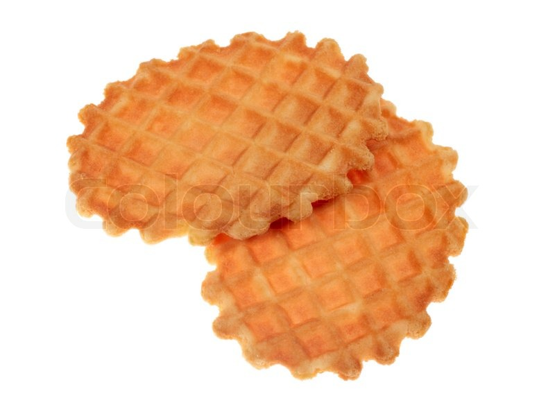 Waffle Wafer Cookies Two waffle cookies iso...
