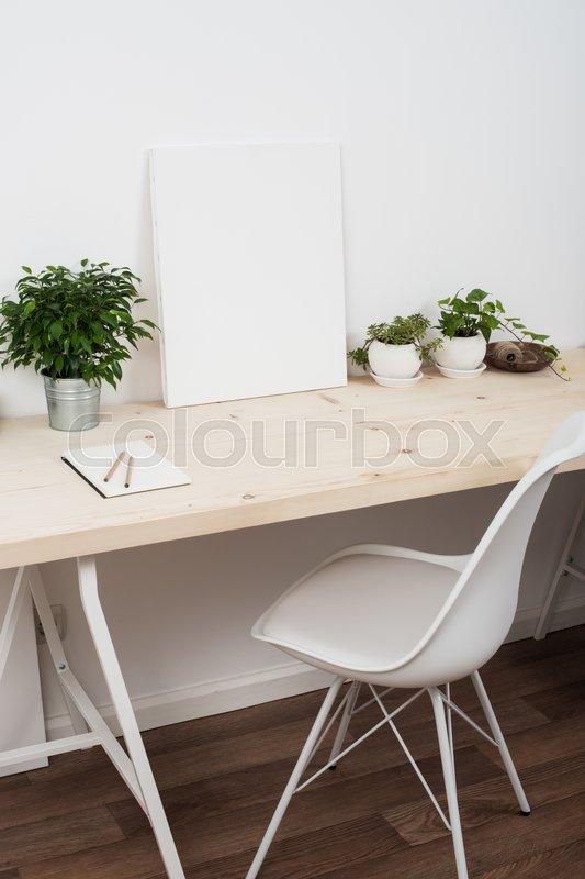 scandinavian style startup work space white minimalist office
