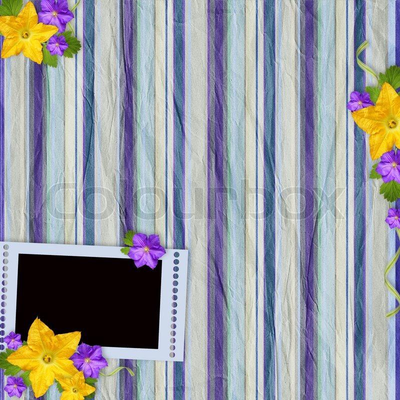 Vintage gestreiften Hintergrund mit Rahmen und Blumen | Stockfoto ...