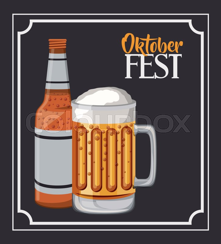 Beer frame food meu oktoberfest icon. Colorful and Flat design ...