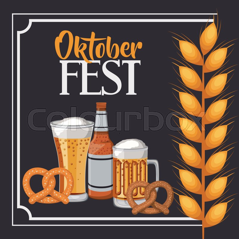Beer pretzel wheat ear frame food meu oktoberfest icon. Colorful and ...
